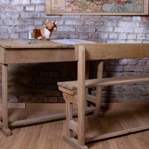 Ensemble table et banc d'écolier Justin Décap&Patine By Aérogom'Nord